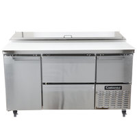 Continental Refrigerator CPA60-D 60 inch Customizable Pizza Prep Table with Two Drawers, One Full Size, and One Half Door