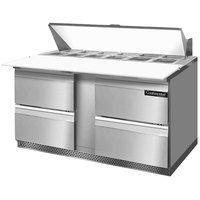 Continental Refrigerator SW60-16C-FB-D 60 inch Front Breathing Cutting Top Sandwich / Salad Prep Refrigerator with Four Drawers