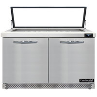 Continental Refrigerator SW48-18M-HGL-FB 48 inch 2 Door Mighty Top Front Breathing Hinged Glass Lid Refrigerated Sandwich Prep Table