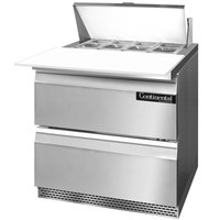 Continental Refrigerator SW32-8C-FB-D 32 inch 2 Drawer Cutting Top Front Breathing Refrigerated Sandwich Prep Table