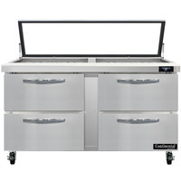 Continental Refrigerator SW60-24M-HGL-D 60 inch 4 Drawer Mighty Top Hinged Glass Lid Refrigerated Sandwich Prep Table