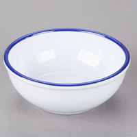 Cal-Mil 3467-5-15 Enamelware 5 1/2 inch White Small Melamine Bowl with Blue Rim