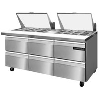 Continental Refrigerator SW72-27M-D 72 inch 6 Drawer Mighty Top Refrigerated Sandwich Prep Table