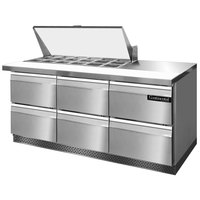 Continental Refrigerator SW72-18M-FB-D 72 inch Mighty Top Front Breathing Sandwich / Salad Prep Refrigerator with Six Drawers