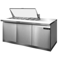 Continental Refrigerator SW72-18M-FB 72 inch 3 Door Mighty Top Front Breathing Refrigerated Sandwich Prep Table