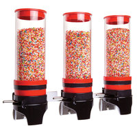 Cal-Mil 3525-3-14 Red 3 Cylinder Topping Click Dispenser - 15 3/4 inch x 7 1/4 inch x 12 inch