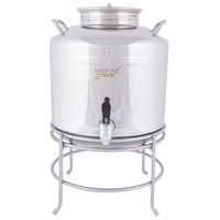 Cal-Mil 3497-3-55 Stainless Steel 3 Gallon Beverage Dispenser with Wire Stand - 14 inch x 14 inch x 18 inch