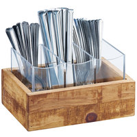 Cal-Mil 3408-99 Madera Reclaimed Wood 3 Compartment Flatware Organizer - 9 inch x 6 inch x 5 1/4 inch