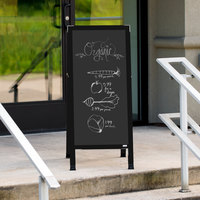 Aarco BA-3B 42 inch x 18 inch Black Aluminum A-Frame Sign Board with Black Chalkboard