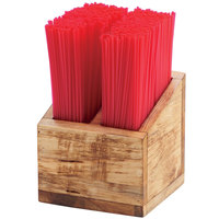 Cal-Mil 3308-99 Madera 2 Compartment Rustic Pine Straw Organizer - 5 1/4 inch x 5 1/4 inch x 5 1/2 inch