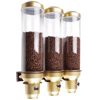 Cal-Mil 3528-3-11 Gold Wall Mount 3 Cylinder Coffee Bean Dispenser - 16 3/4 inch x 6 1/2 inch x 21 3/4 inch