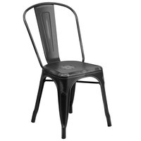 Distressed Black Stackable Metal Chair with Vertical Slat Back and Drain Hole Seat