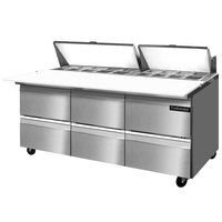 Continental Refrigerator SW72-18C-D 72 inch 6 Drawer Cutting Top Refrigerated Sandwich Prep Table