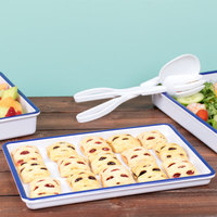 Cal-Mil 3463-15 Enamelware 13 inch x 9 inch x 1 inch White Melamine Serving Tray with Blue Rim