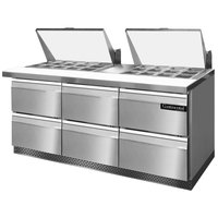Continental Refrigerator SW72-27M-FB-D 72 inch 6 Drawer Mighty Top Front Breathing Refrigerated Sandwich Prep Table