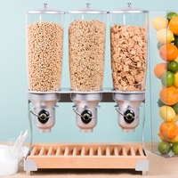 Cal-Mil 3516-3-98FF Beechwood Free Flow 3 Cylinder Cereal Dispenser - 19 inch x 11 inch x 25 3/4 inch