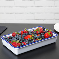 Cal-Mil 3470-15 Enamelware 12 inch x 7 inch x 2 inch White Deep Melamine Serving Tray with Blue Rim