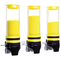 Cal-Mil 3525-3-42 Yellow 3 Cylinder Topping Click Dispenser -15 3/4 inch x 7 1/4 inch x 12 inch