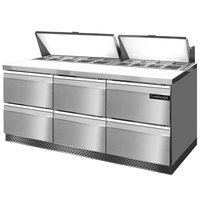 Continental Refrigerator SW72-18-FB-D 72 inch 6 Drawer Front Breathing Refrigerated Sandwich Prep Table