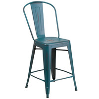 Flash Furniture ET-3534-24-KB-GG Distressed Kelly Blue Metal Counter Height Stool with Vertical Slat Back and Drain Hole Seat