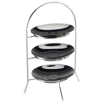 Cal-Mil 977-10-49 Aqua 3-Tier Silver Steel Bowl and Plate Display