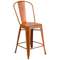 Distressed Orange Metal Counter Height Stool with Vertical Slat Back and Drain Hole Seat