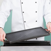 Cal-Mil 3451-55GRIDDLE 16 inch x 9 inch Reversible Cast Iron Griddle and Grill Pan with Handles