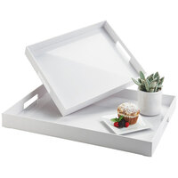 Cal-Mil 3475-2-15 19 1/2 inch x 15 1/2 inch x 2 3/4 inch White Plastic Room Service Tray with Handles