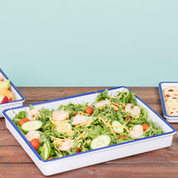 Cal-Mil 3465-15 Enamelware 15 inch x 12 inch x 2 inch White Deep Melamine Serving Tray with Blue Rim