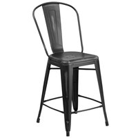 Flash Furniture ET-3534-24-BK-GG Distressed Black Metal Counter Height Stool with Vertical Slat Back and Drain Hole Seat