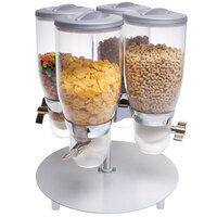 Cal-Mil 3514-4-39 Platinum Rotating Turn and Serve 4 Bin Cereal Dispenser - 13 1/2 inch x 13 1/2 inch x 17 3/4 inch