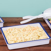 Cal-Mil 3464-15 Enamelware 12 inch x 10 inch x 2 inch White Deep Melamine Serving Tray with Blue Rim