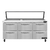 Continental Refrigerator SW72-30M-HGL-D 72 inch 6 Drawer Mighty Top Hinged Glass Lid Refrigerated Sandwich Prep Table