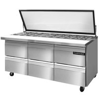Continental Refrigerator SW72-30M-HGL-D 72 inch Mighty Top Sandwich / Salad Prep Refrigerator with Six Drawers and Hinged Glass Lid