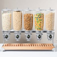 Cal-Mil 3516-5-98FF Beechwood Free Flow 5 Cylinder Cereal Dispenser - 31 1/4 inch x 11 inch x 25 3/4 inch