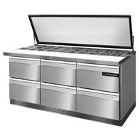 Continental Refrigerator SW72-30M-HGL-FB-D 72 inch 6 Drawer Mighty Top Front Breathing Hinged Glass Lid Refrigerated Sandwich Prep Table