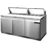 Continental Refrigerator SW72-18-FB 72 inch 3 Door Front Breathing Refrigerated Sandwich Prep Table