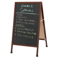 Aarco 1-WA-1B 42 inch x 24 inch Cherry Wood-Look A-Frame Sign Board with Black Chalkboard