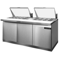 Continental Refrigerator SW72-27M-FB 72 inch 3 Door Mighty Top Front Breathing Refrigerated Sandwich Prep Table