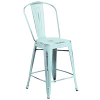 Flash Furniture ET-3534-24-DB-GG Distressed Green Blue Metal Counter Height Stool with Vertical Slat Back and Drain Hole Seat