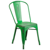 Flash Furniture ET-3534-GN-GG Distressed Green Stackable Metal Chair with Vertical Slat Back and Drain Hole Seat