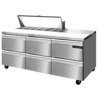 Continental Refrigerator SW72-12-D 72 inch 6 Drawer Refrigerated Sandwich Prep Table