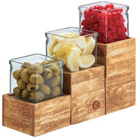 Cal-Mil 3427-3-99 Madera Reclaimed Wood Riser with Jar - 4 1/4 inch x 4 1/4 inch x 3 inch