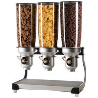Cal-Mil 3516-3-13FF Black Free Flow 3 Cylinder Cereal Dispenser - 19 inch x 11 inch x 25 3/4 inch