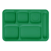 Cambro PS1014437 Penny-Saver 10 inch x 14 1/2 inch Kelly Green 6 Compartment Serving Tray - 24/Case