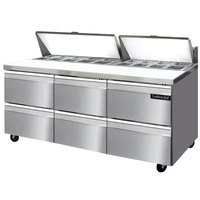 Continental Refrigerator SW72-18-D 72 inch 6 Drawer Refrigerated Sandwich Prep Table