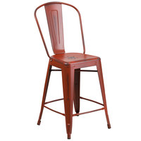 Flash Furniture ET-3534-24-RD-GG Distressed Kelly Red Metal Counter Height Stool with Vertical Slat Back and Drain Hole Seat