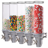 Cal-Mil 3520-5-39 Platinum Wall Mount Turn and Serve 5 Bin Cereal Dispenser - 27 1/2 inch x 6 1/2 inch x 21 3/4 inch