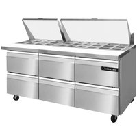 Continental Refrigerator SW72-30M-D 72 inch Mighty Top Sandwich / Salad Prep Refrigerator with Six Drawers