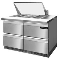 Continental Refrigerator SW48-12M-FB-D 48 inch 4 Drawer Mighty Top Front Breathing Refrigerated Sandwich Prep Table
